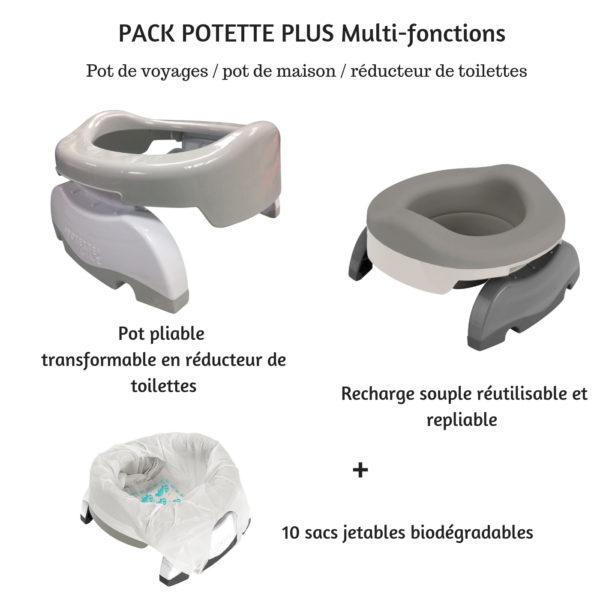 Pot bébé multifonctions 3 en 1 Potette Plus gris