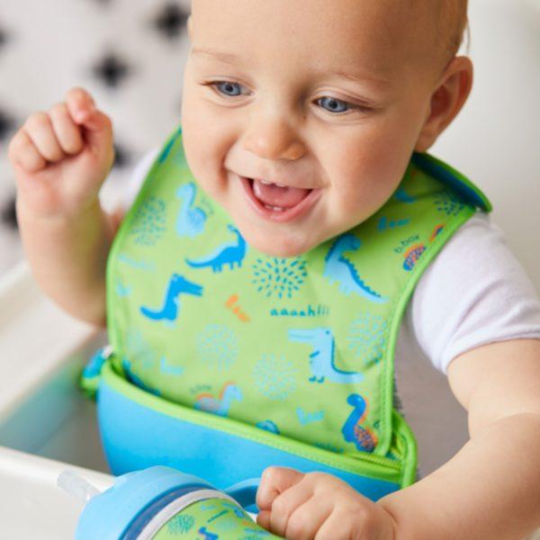 Bavoir bébé de voyages avec cuillère en silicone - Ocean