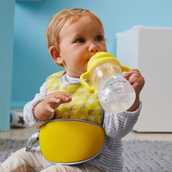 Bavoir bébé de voyages avec cuillère en silicone - Lemon