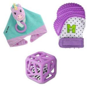 Cadeaux bébé, mitaine de dentition, hochet cube et bavoir bandana Unice la Licorne