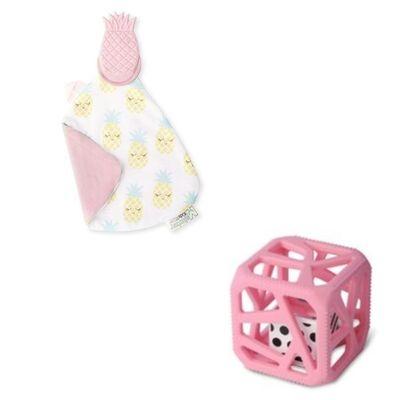 cadeau naissance hochet cube de dentition et doudou de dentition - ananas
