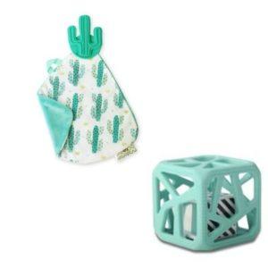 Cadeau naissance hochet cube de dentition et doudou de dentition Cactus Malarkey Kids