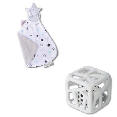 Cadeau naissance doudou de dentition et hochet cube de dentition - voie lactée