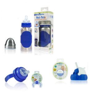 Biberon inox isotherme avec ses accessoires - Pacific Baby - bleu