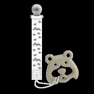 Attache tétine et jouet de dentition en silicone de Malarkey Kids - Bear