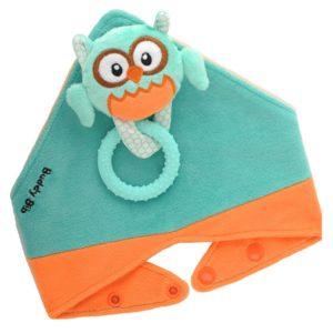 Bavoir bandana avec jouet d'éveil et anneau de dentition - Ollie la Chouette
