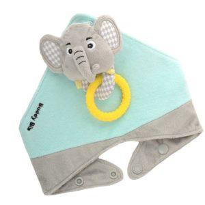 Bavoir bandana avec jouet d'éveil et anneau de dentition - Elie l'éléphant