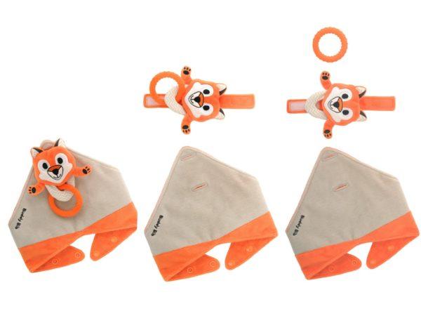 Bavoir bandana avec jouet d'éveil et anneau de dentition - Felix le renard