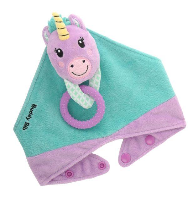 Bavoir bandana avec jouet d'éveil et anneau de dentition - Unice la Licorne