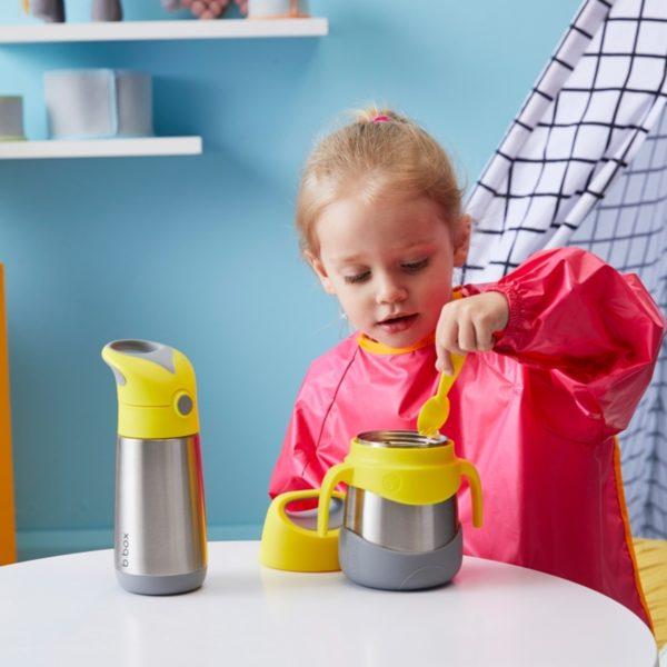 Boite repas isotherme de chez B.box avec fourchette intégrée - jaune