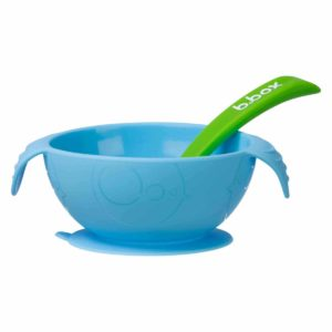 bol enfant avec ventouse et cuillère en silicone - bleu