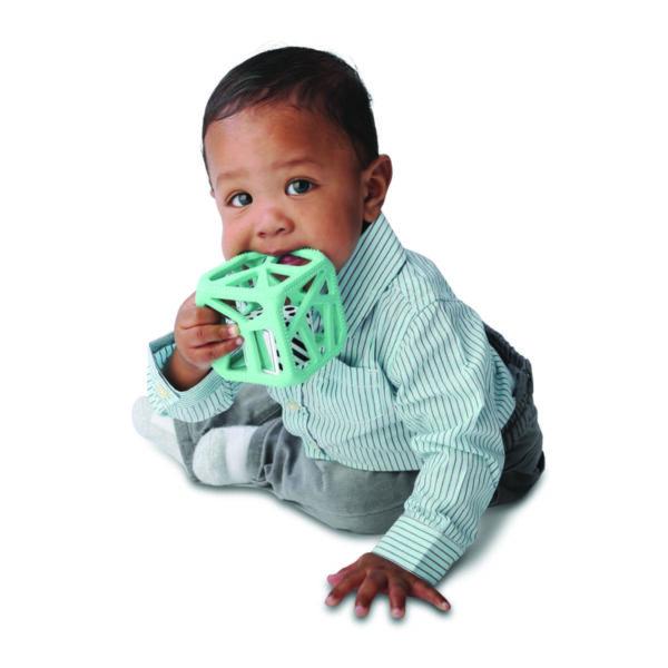 Hochet cube de dentition vert menthe de Malarkey Kids