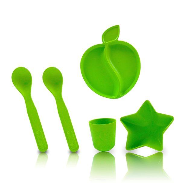 Coffret de 5 pièces de vaisselle en bambou vert