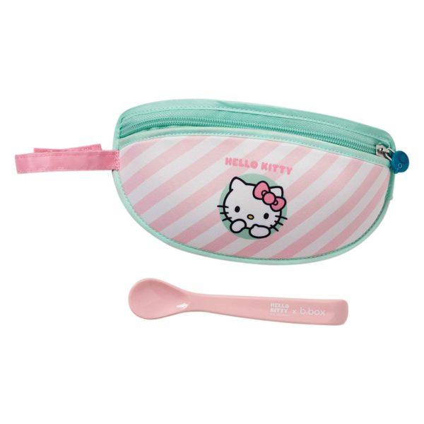 Bavoir bébé de voyages Hello Kitty refermable et transportable avec sa cuillère de la marque B.box